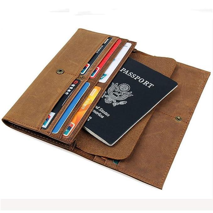 2461905024b7 Boshiho Mens Crazy Horse Leather Money Credit Card Holder Passport ...
