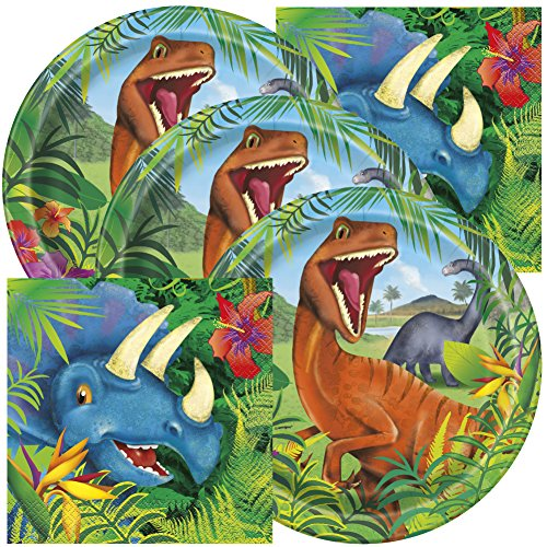 Pack Dinosaur Party (Dinosaur Themed Birthday Party Napkins and Plates (Serves 16))