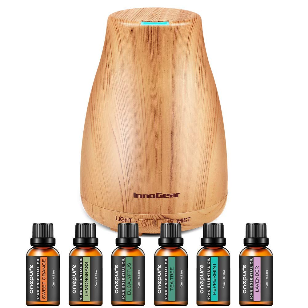 InnoGear Upgraded 150ml Aromatherapy Diffuser with 6 Bottles 100% Pure Essential Oils, Gift Set Aroma Cool Mist Humidifier with 7 Color LED Lights Changing for Home Office Bedroom Room