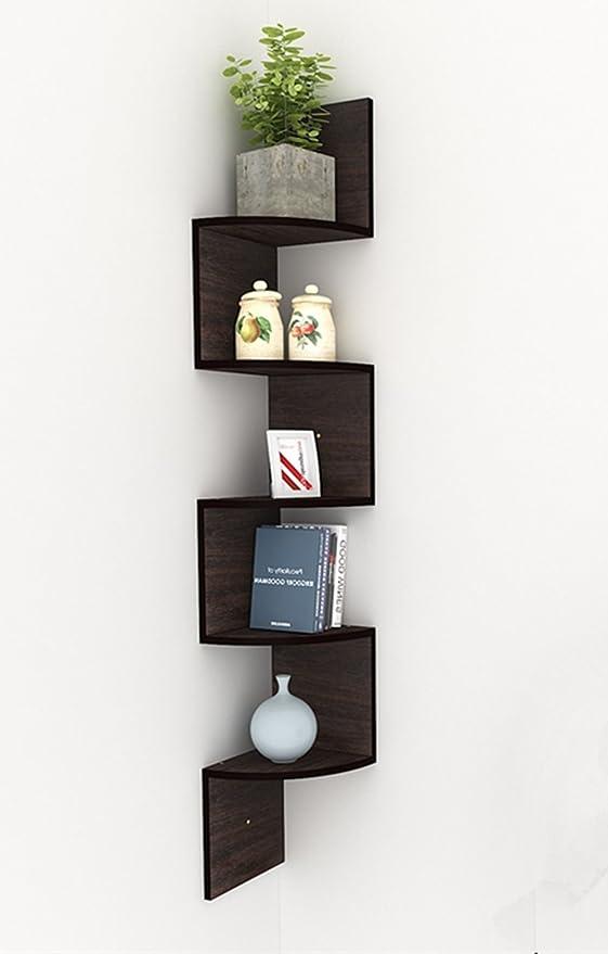 BUSYALL Estanterías de Esquina para Pared Flotantes Mueble Librería de 5 Baldas, Estantería Estantes Organizador para Libros Decoración Habitacion, ...