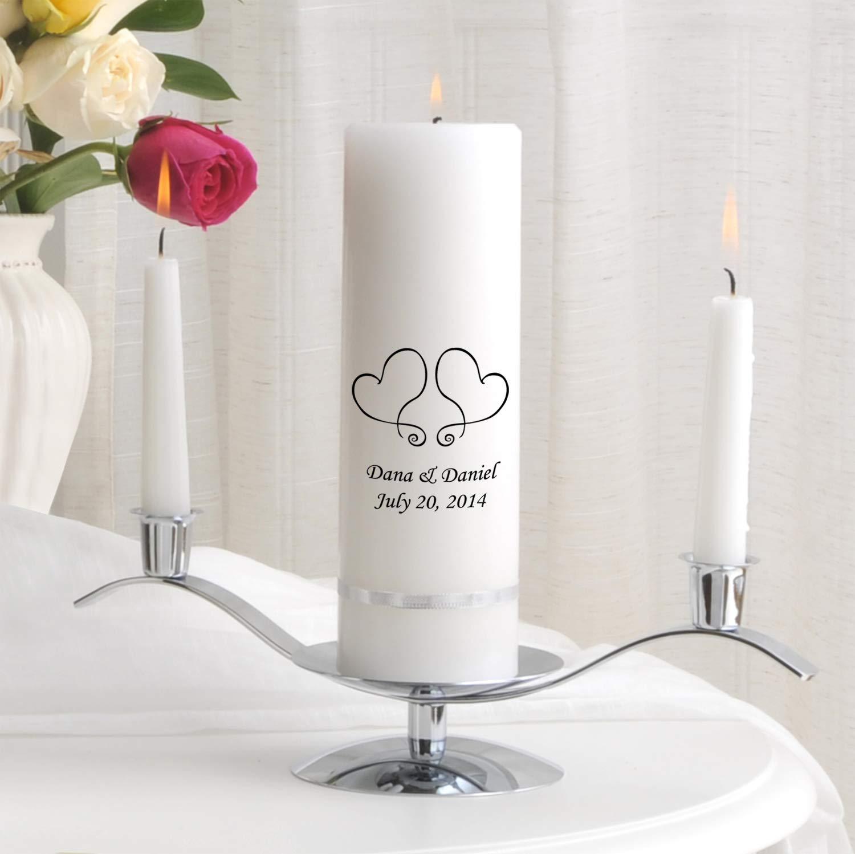 Personalized Unity Wedding Candle - Personalized Wedding Candle - Wedding Gift - Monogrammed Unity Wedding Candle - Two Hearts by A Gift Personalized