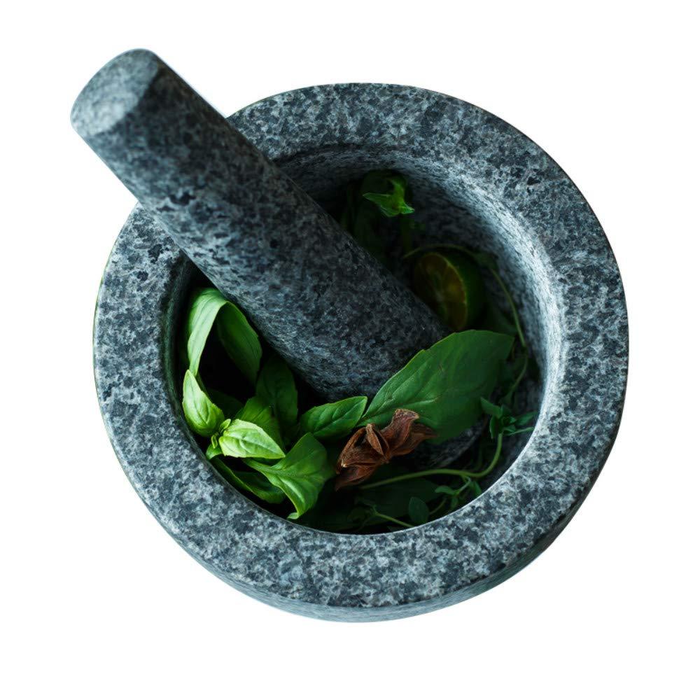 16cm Diameter Large Pestle and Mortar Set Premium Durable Solid Granite Grey Stone Spice /& Herb Crusher Grinder M/&W