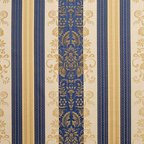 (Vintage Dark Blue Gold Yellow Foliage Heirloom Stripe Damask Jacquard Upholstery Fabric by the yard)