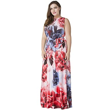 Romacci Women Boho Dress Plus Size Floral Print Maxi Dress Halter Neck  Sleeveless Summer Large Size 1d0d2b11fa5a