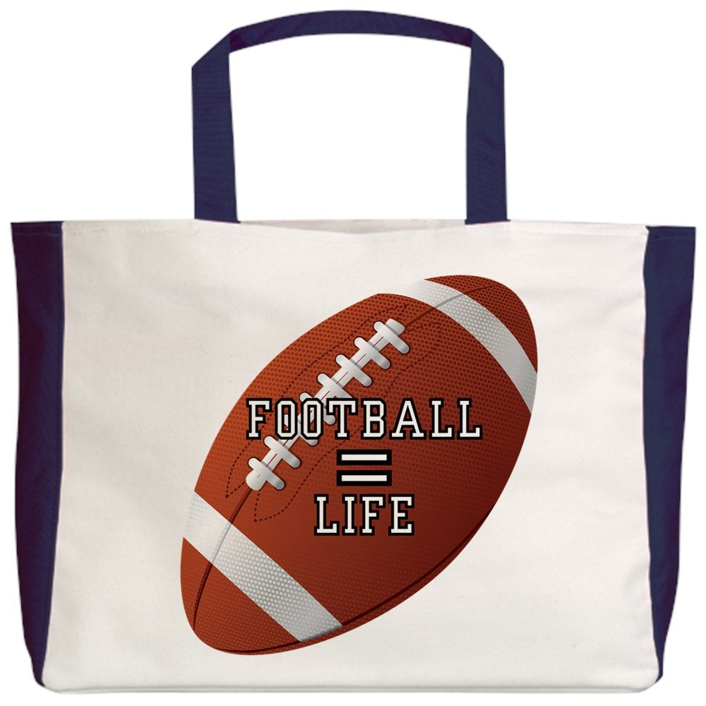 2-Sided Football Equals Life Royal Lion Beach Tote