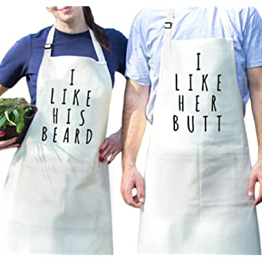 Fodiyaer Couples Cooking Apron Set - Aprons with Pocket for Wedding Engagement
