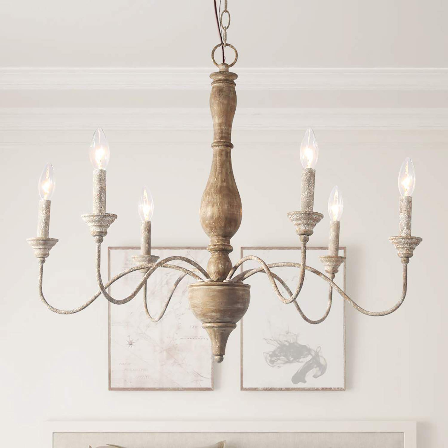 LNC Handmade Wood Chandelier, 6-Light Rust Arms French Country Chandelier for Dining Room, Bedroom, Living Room and Bathroom
