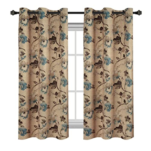 H.VERSAILTEX Classical Vintage Floral Pattern Thermal Insulated Blackout  Room Curtains With Antique Grommet,