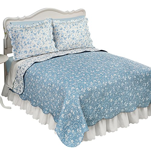 Floral Scroll Two-Tone with Scalloped Edges Reversible Lightweight Quilt, Blue, (Tone Scroll)