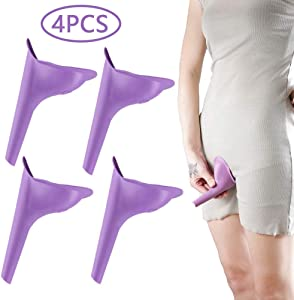 HAKACC Portable Female Women Urinal Camping Travel Toilet Device 4PCS,Purple