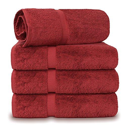 4 Piece Turkish Luxury Turkish Cotton Towel Set (Cranberry) - Eco Friendly, 4 Bath Towels by Turkuoise Turkish Towel