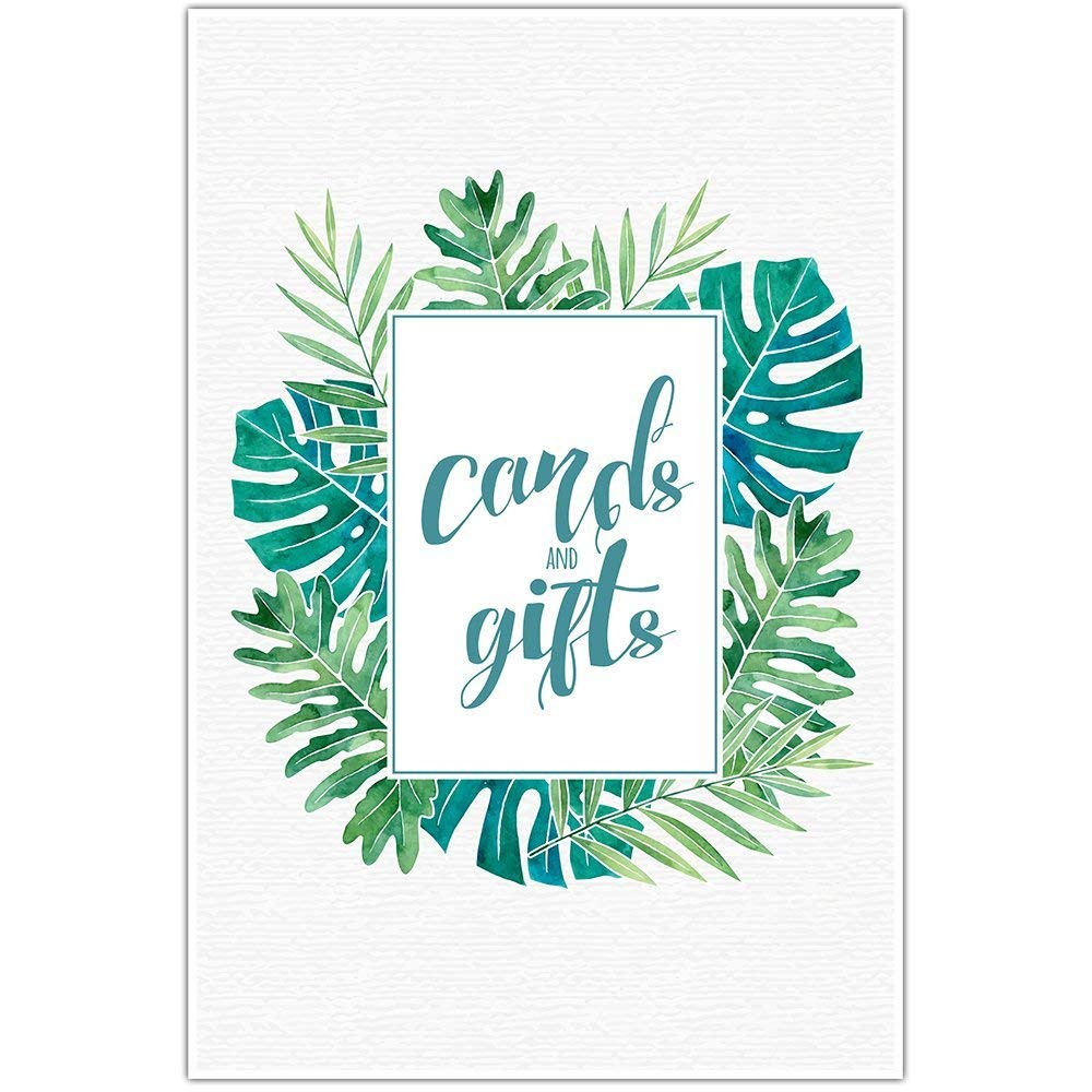 Watercolor Tropical Leaves Wedding Ceremony Cards and Gifts Sign Poster
