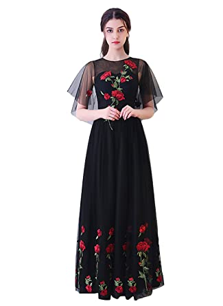 Annies Bridal Embroidered Floral Casual Short Sleeve Maxi Dress Long Prom Dress for Women Party 2017