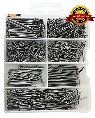 Compact Trim Safe (Top Quality Nail Assortment Kit – Over a 1000 Multipurpose Hardware Nails - 11 Different Sizes – Non Bendable & Sturdy - Compact Organized Box (550 Nails))