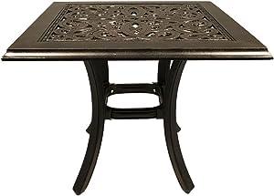 Cast Aluminum Patio Furniture End Table 24 Square Desert Bronze