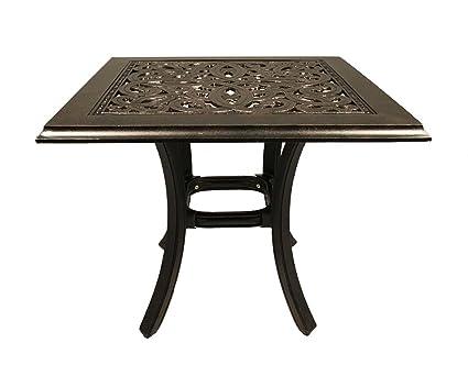 Terrific Cast Aluminum Patio Furniture End Table 24 Square Desert Bronze Theyellowbook Wood Chair Design Ideas Theyellowbookinfo