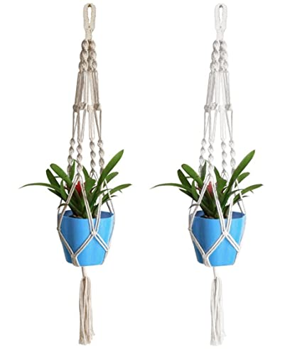 Amazon Com Acerich 2 Pcs Macrame Plant Hanger Indoor Outdoor