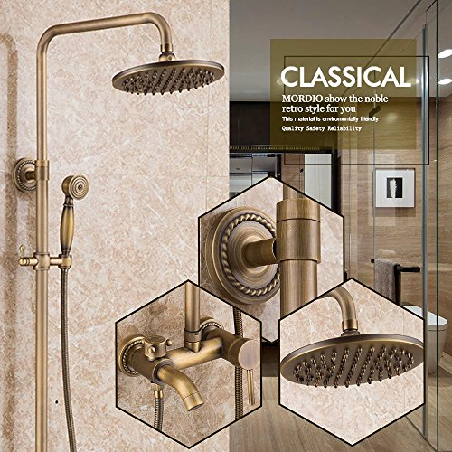 QREZ Wall Mounted Bathroom Rainfall Shower Set Tub Mixer Tap Hand Sprayer Antique Brass Tub taps- 2 years guarantee