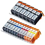 INKUTEN © New Compatible Canon PGI-220 , CLI-221, Canon 221, Canon 220 Set of 18 High Yield Ink Cartridges: 6 Big Black, 3 Cyan, 3 Magenta, 3 Yellow, 3 Small Black for use with Canon PIXMA iP3600, PIXMA iP4600, PIXMA iP4700, PIXMA MP560, PIXMA MP620, PIXMA MP620B, PIXMA MP640, PIXMA MP640R, PIXMA MP980, PIXMA MP990, PIXMA MX860, PIXMA MX870 . Ink Cartridges CLI-221BK, CLI-221C, CLI-221M, CLI-221Y, PGI-220BK