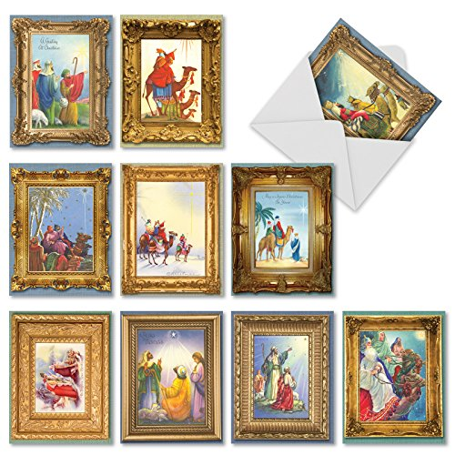 M1745XS We Three Kings: 10 Assorted Christmas Notecards Feature Images of the Three Wise Men, w/White Envelopes - Folded - Three Men Cards Wise Christmas