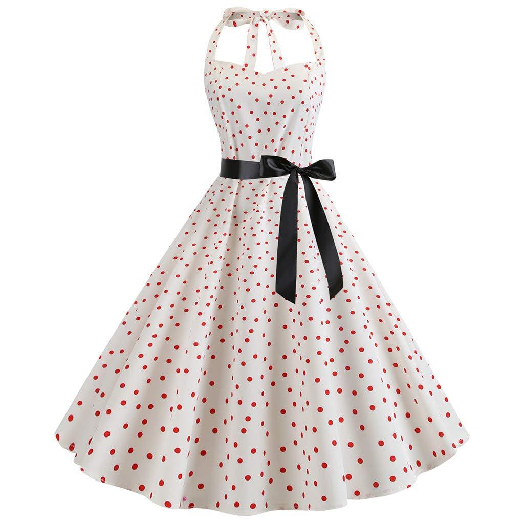 Berimaterry Damen Kleider Elegant Neckholder Rockabilly 1950er Vintage Abendkleid mit Polka Dots Punkte Retro Cocktailkleid Petticoat Faltenrock Partykleid