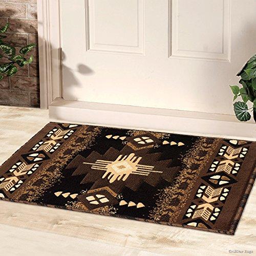 3' Drop Shot - Allstar Black Doormat Accent Rug Woven High Density Double Shot Drop-Stitch Carving (2' 0