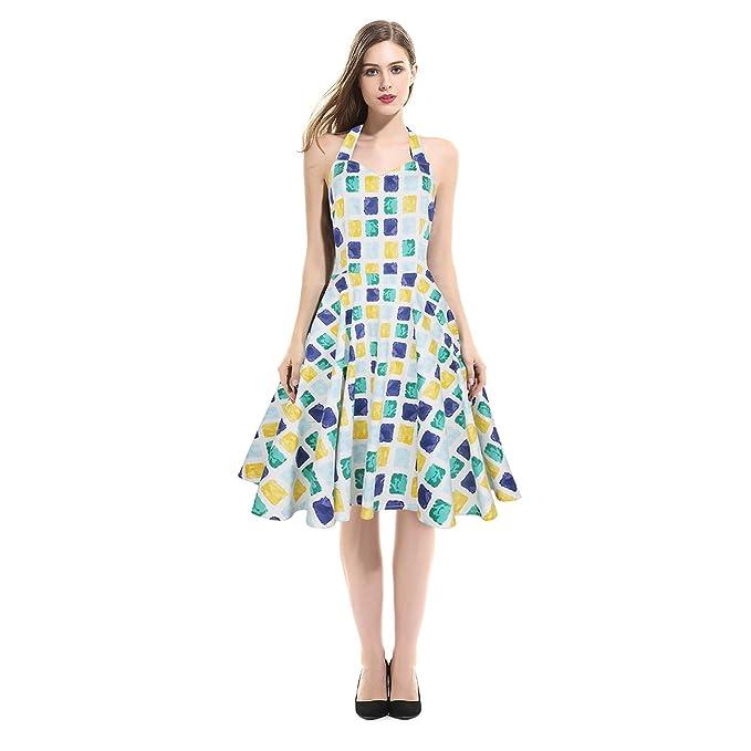 Polly Online - Vestido - Noche - Sin mangas - para mujer azul Floral Dress Medium