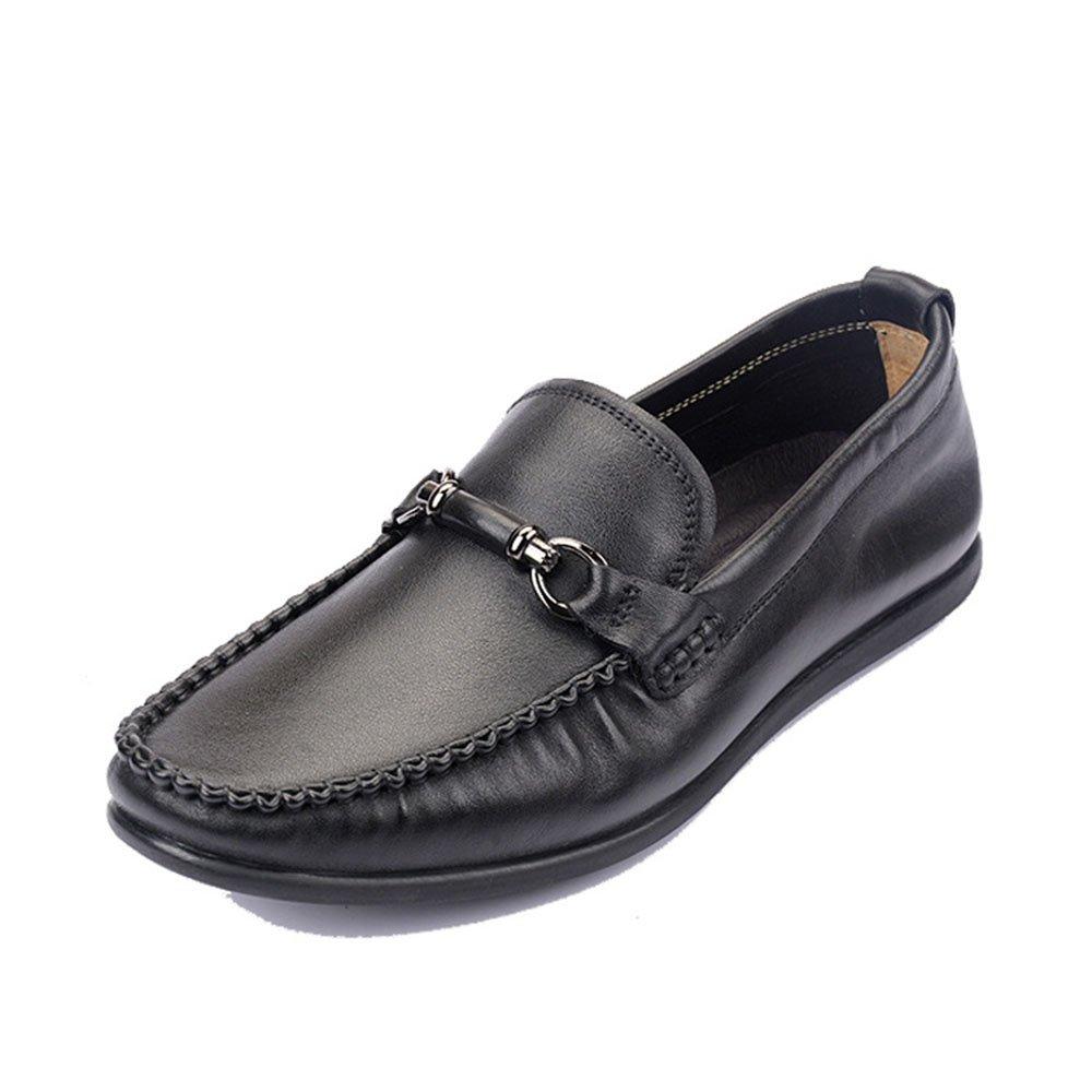Zapatos de Hombre de Primera Capa de Cuero Zapatos de conducción Suaves de Fondo 42 2/3 EU|Negro
