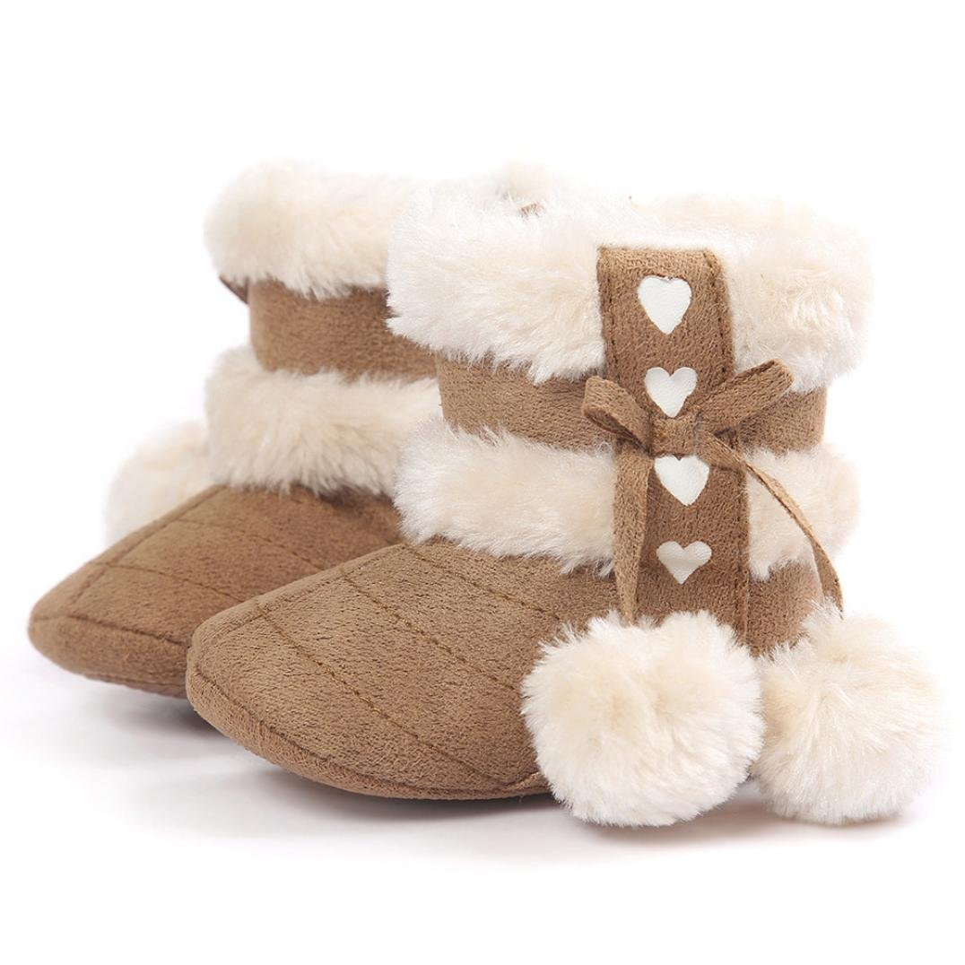 HOMEBABY Baby Girl Boy Soft Booties Snow Boots Infant Toddler Newborn Warm Shoes Baby Cotton Black Shoes for 0-18 Months