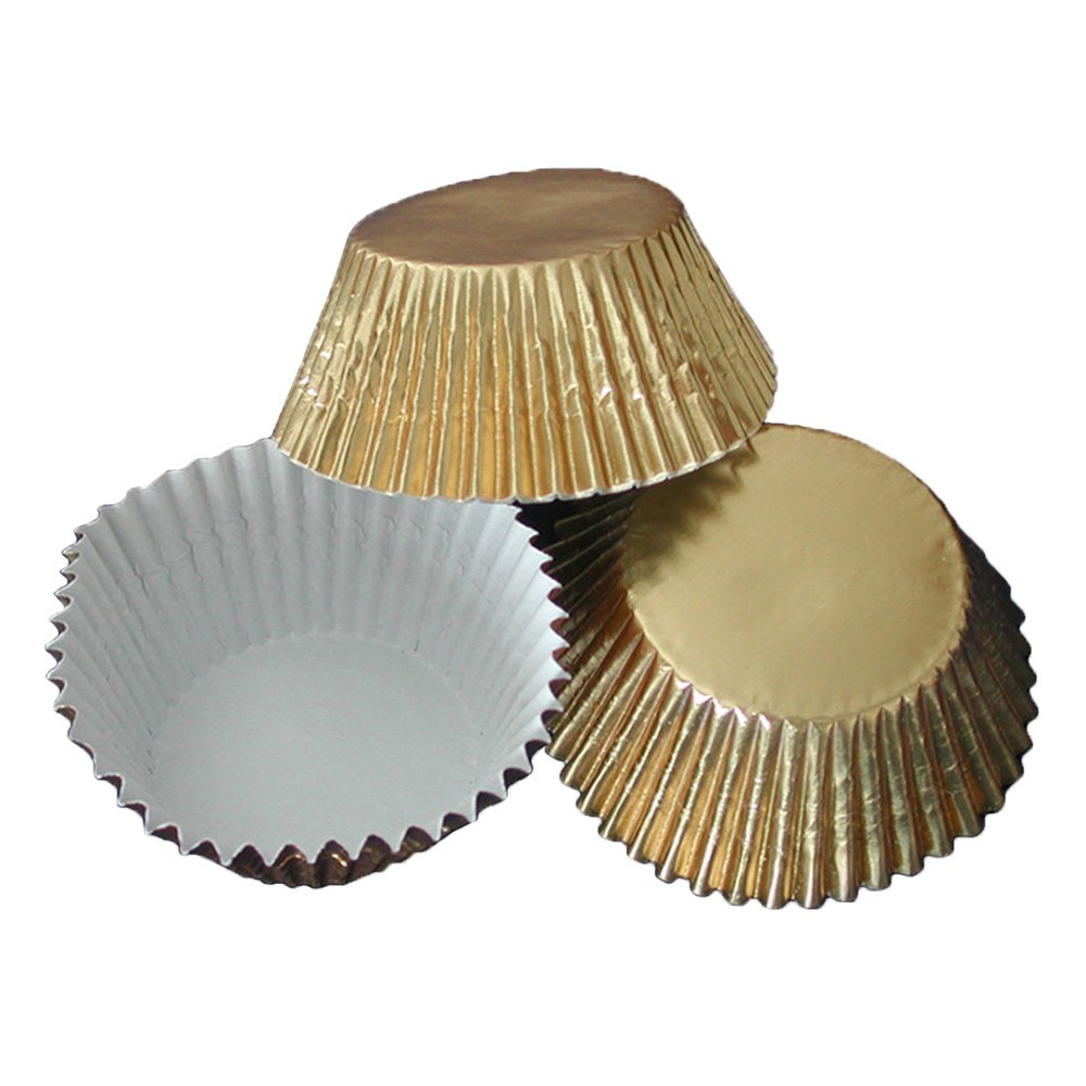Hoffmaster BL200-4-1/2GFSP Foil Bake Cup, 2-Ounce Capacity, 4-1/2'' Diameter x 1-1/4'' Height, Gold (4 Packs of 500)