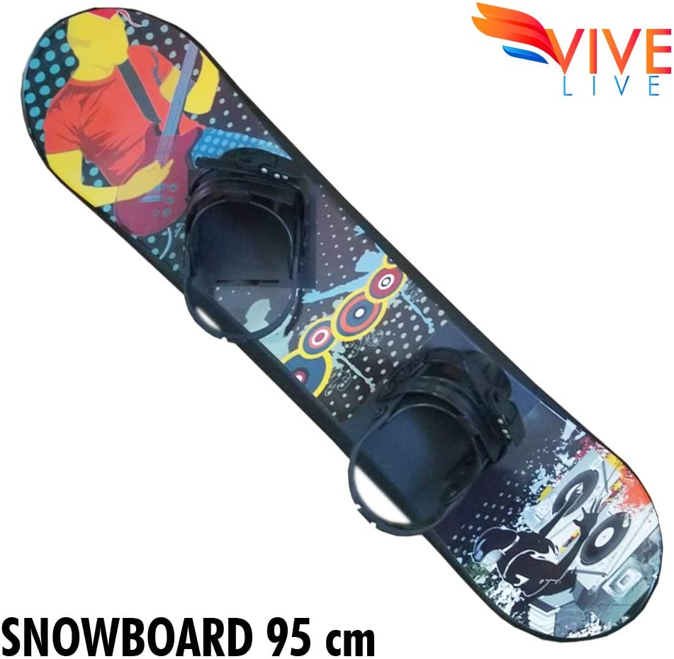 Vive Live Freeride Snowboard-for Kids Ages 4-15-Adjustable bindings and Solid core Construction-Beginner Snowboard for Kids
