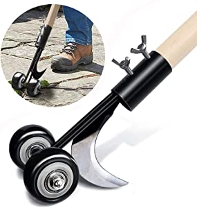 ASDFG Manual Crevice Weeder, Wheel Type Adjustable Garden Weed Removal Tools Crack and Crevice Weeder and Lawn Edger ,for Patio Driveways Backyard Sidewalk Garden Lawnl (A)