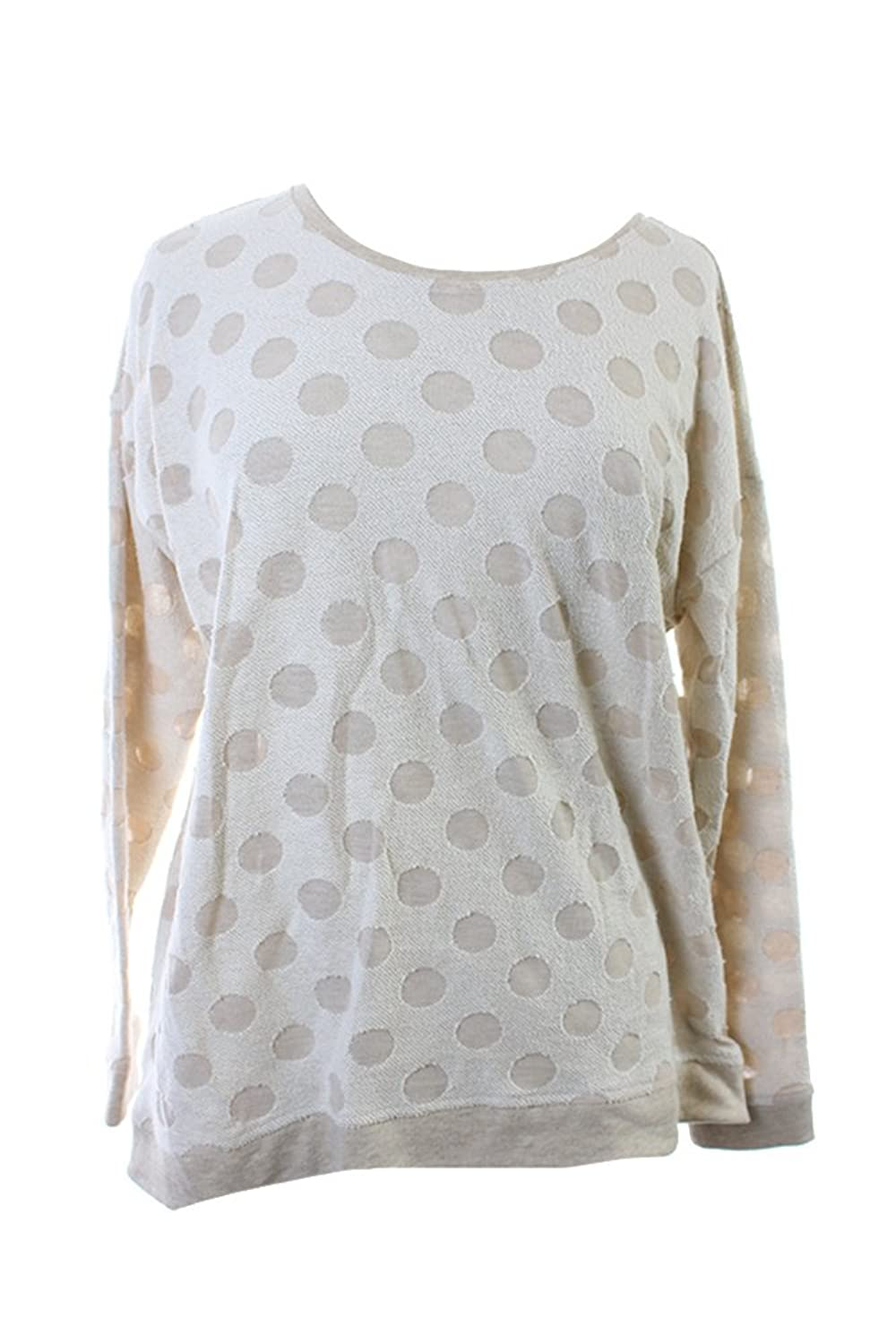 Kensie Womens French Terry Polka Dot Casual Top