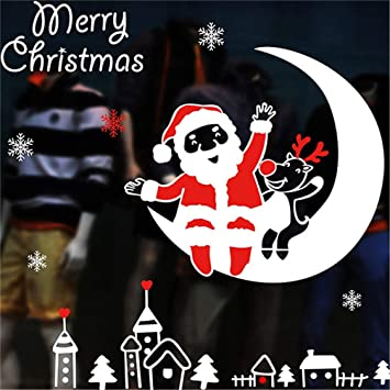 Joyeux Noel Et Nouvel An.Dsybm Sticker Mural Noel Non Colle Statique Joyeux Noel
