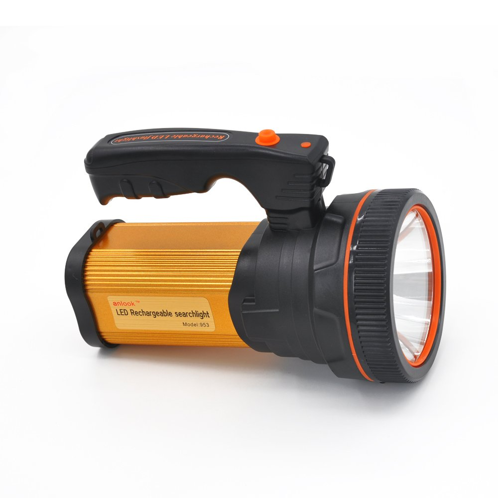 Anlook Super Bright Rechargeable LED Searchlight Tactical Flashlight CREE L2 Spotlight 1200 Lumens Handheld electric torch Including Battery Wall Charger USB output power supply (Golden)