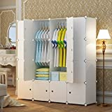 MAGINELS Magicial Panels Wardrobe Portable Closet Organizer Clothes Armoire Cube Storage Dresser for Bedroom, Large & Study, White, 10 Cubes & 2 Hanging Sections