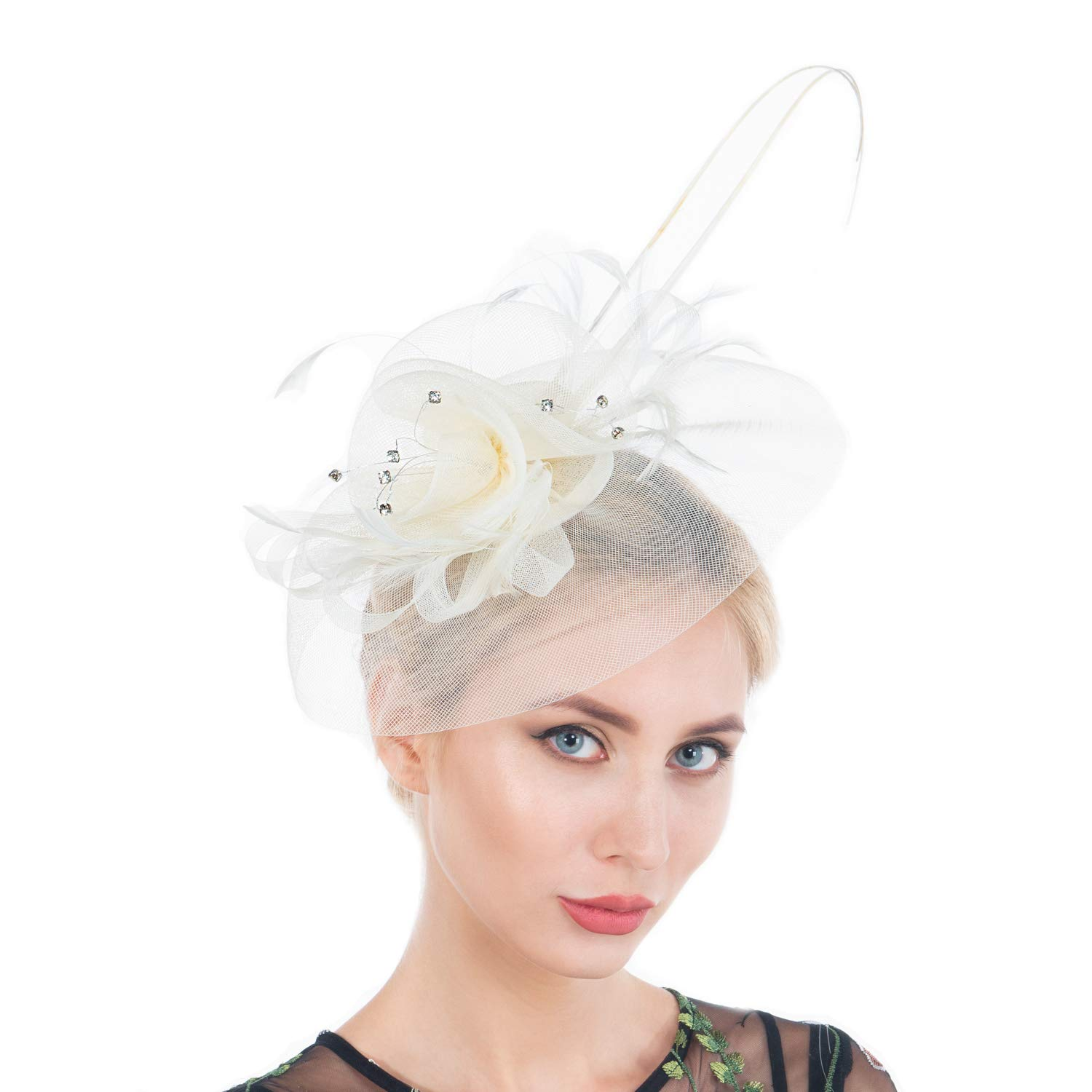 Fascinator Hat Feather Mesh Net Veil Party Hat Flower Derby Hat with Clip for Women (05-white)