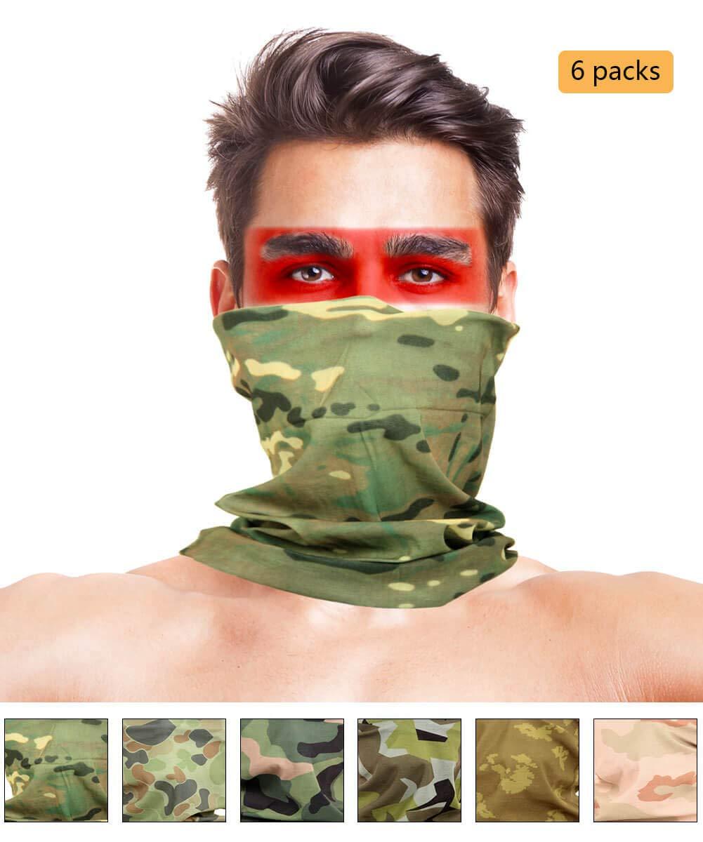 LOOGU 12-in-1 Headband Hunting Blind Tree Camo Multifunctional Seamless Bandanas Headwear (CP Camo 6-1, 9.5 x 19 Inches / 24 x 49 cm)