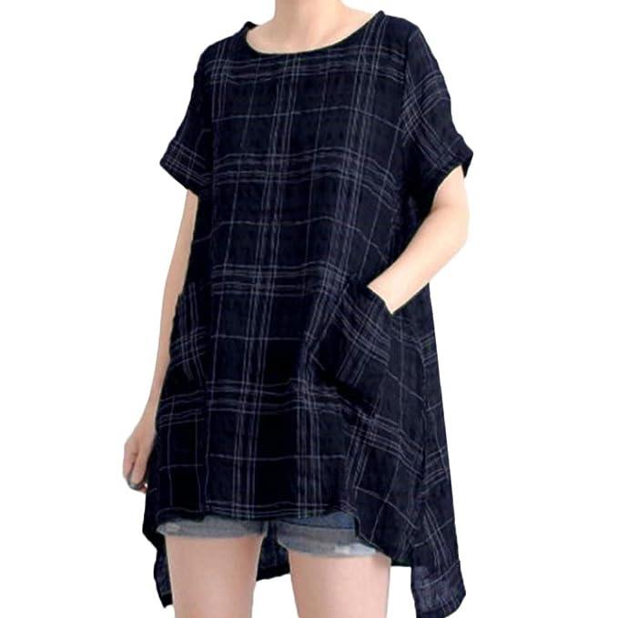 Yvelands Moda Femenina Elegante algodón Lino Vintage Casual Suelto Camisa a Cuadros Vestido Traje de baño Traje de baño de Verano.Tops, Liquidación Barato!: