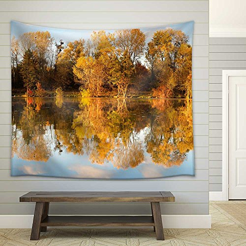 Autumn Forest Reflected in the Lake at Sunset Fabric Wall Tapestry