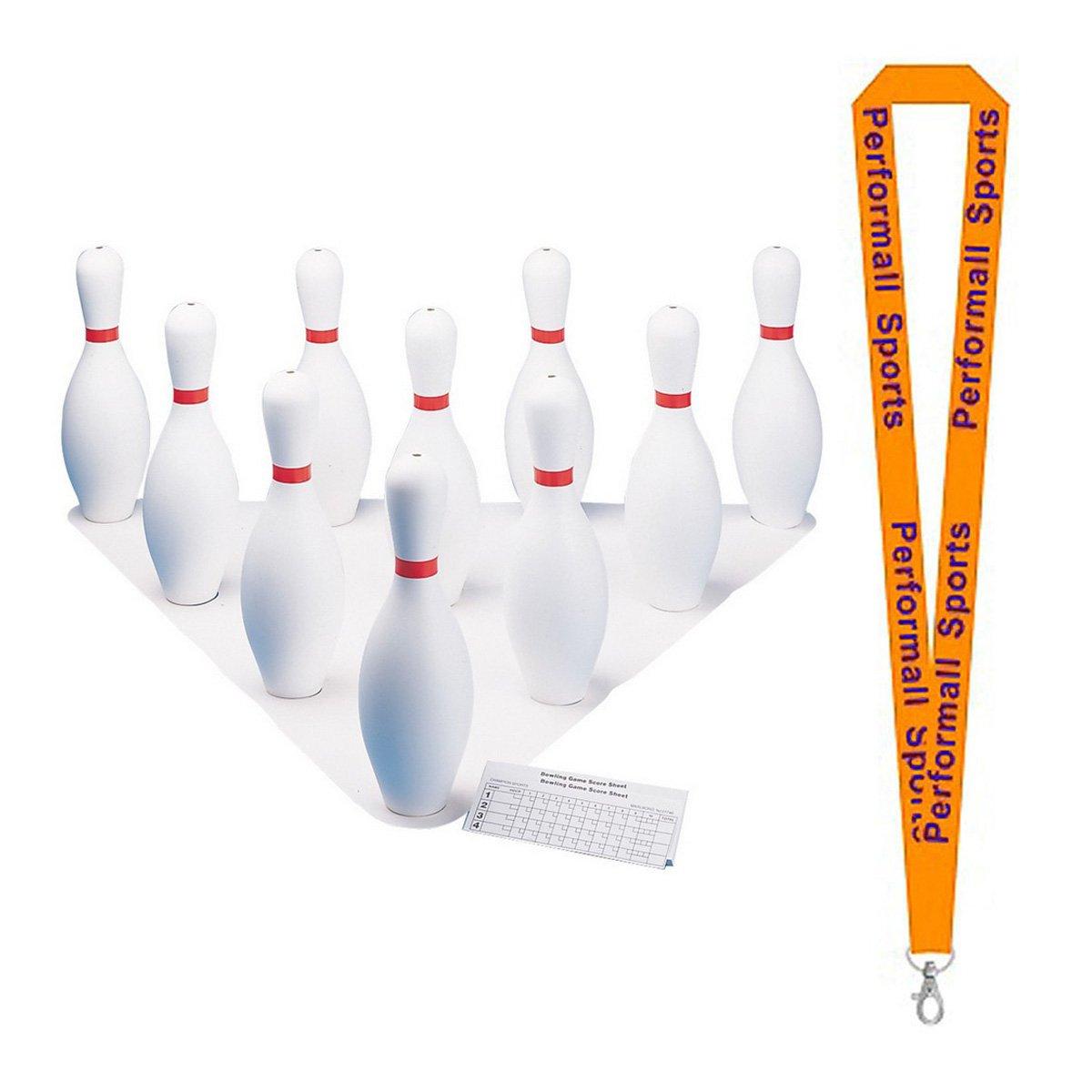 Champion Sports Plastic Bowling Pin Set White Bundle with 1 Performall Lanyard BP10-1P