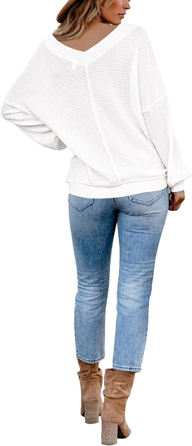 COCOLEGGINGS Womens V Neck Waffle Knit Long Sleeve Off The Shouler Pullover Sweater T-Shirt Blouses Top