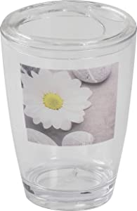 EVIDECO Clear Acrylic Printed Toothbrush and Toothpaste Holder Collections, Zen Garden, Gray