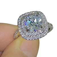 Pengyu Shiny Large Square Faux Topaz Ring Women Party Banquet Costume Jewelry Decor