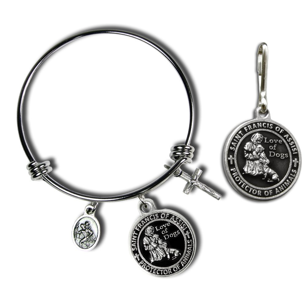 St. Francis of Assisi Pet Medal with Matching Bangle Bracelet (Black) by The Christian Mint, LLC