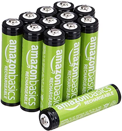 Amazon Basics 12 Pack AAA Performance-Capacity 800 mAh Rechargeable Batteries, Pre-Charged, can be recharged 1,000 times
