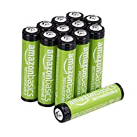 Amazon Basics 12-Pack AAA Rechargeable Batteries, 800 mAh, Pre-charged