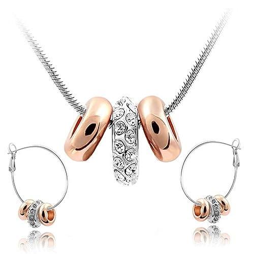 4d8f9a219184 Blanco Crystals from Swarovski Juego de joyas Collar con colgante 45 cm Pendientes  18k Chapado en oro blanko y rosa para mujer  Amazon.es  Joyería