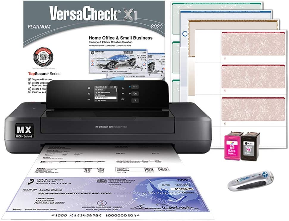 VersaCheck HP Officejet 200 MX Portable Wireless MICR Check Printer and VersaCheck Platinum Software Bundle, Black