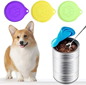 SHIYUE 6PS Pet Food Can Covers, Universal Silicone Food Can Lid Cover for Pet Food, BPA-Free Reusable Can Lids for Most Dog and Cat